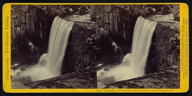 Vernal Fall, (350 feet high) from above, after snow storm in July