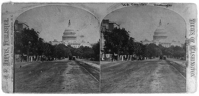 [View down Pennsylvania Ave. with West Front of the U.S. Capitol in background]