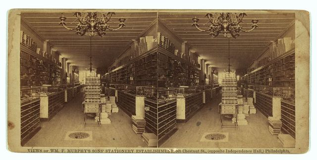 Views of Wm. F. Murphy's Sons' stationery establishment, 509 Chestnut St., (opposite Independence Hall), Philadelphia. Interior of store