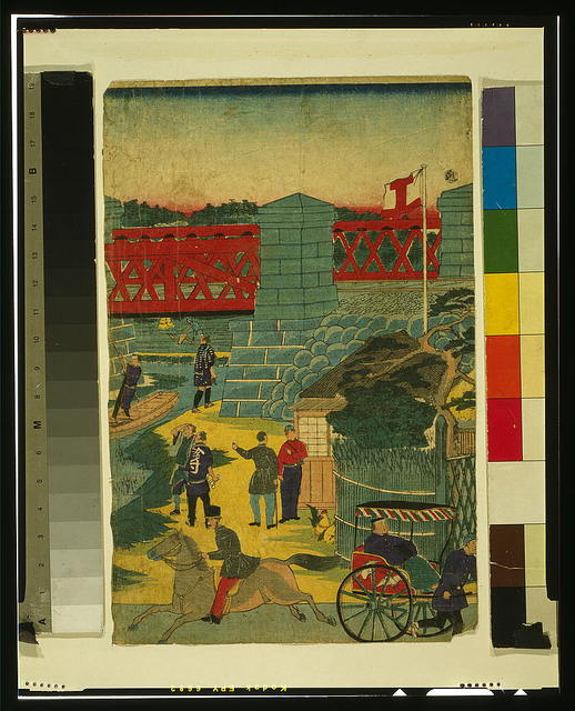 [Village scene in Japan showing people engaged in various activities]