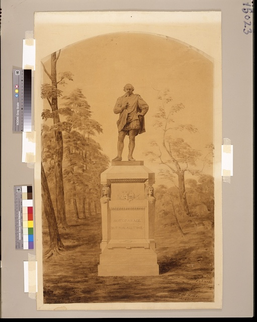[William Shakespeare monument, Central Park, New York City. Rendering] / R. M. Hunt architect, J. Q. A. Ward sculptor.
