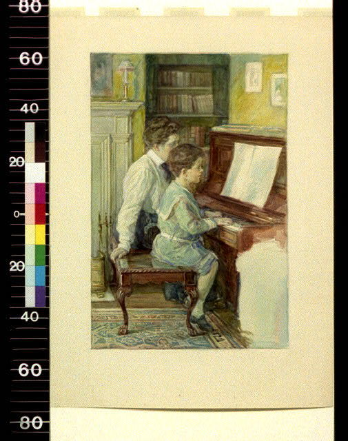 [Woman giving little boy piano lesson]