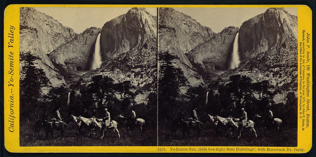 Yo-Semite Fall, (2634 feet high) from Hutchings', with horseback ex. party