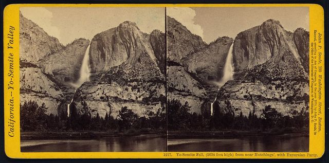 Yo-Semite Fall, (2634 feet high) from near Hutchings', with excursion party