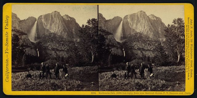 Yo-Semite Fall, (2634 feet high) from near Sentinel House, P.T. Barnum and party