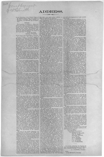 Address. In the Convention of the colored people of the Southern states, begun to be holden in the City of Columbia, South Carolina, on Wednesday, the eighteenth day of October 1871.