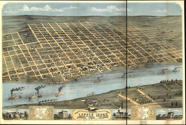 Bird's eye view of the city of Little Rock, the capitol of Arkansas 1871.