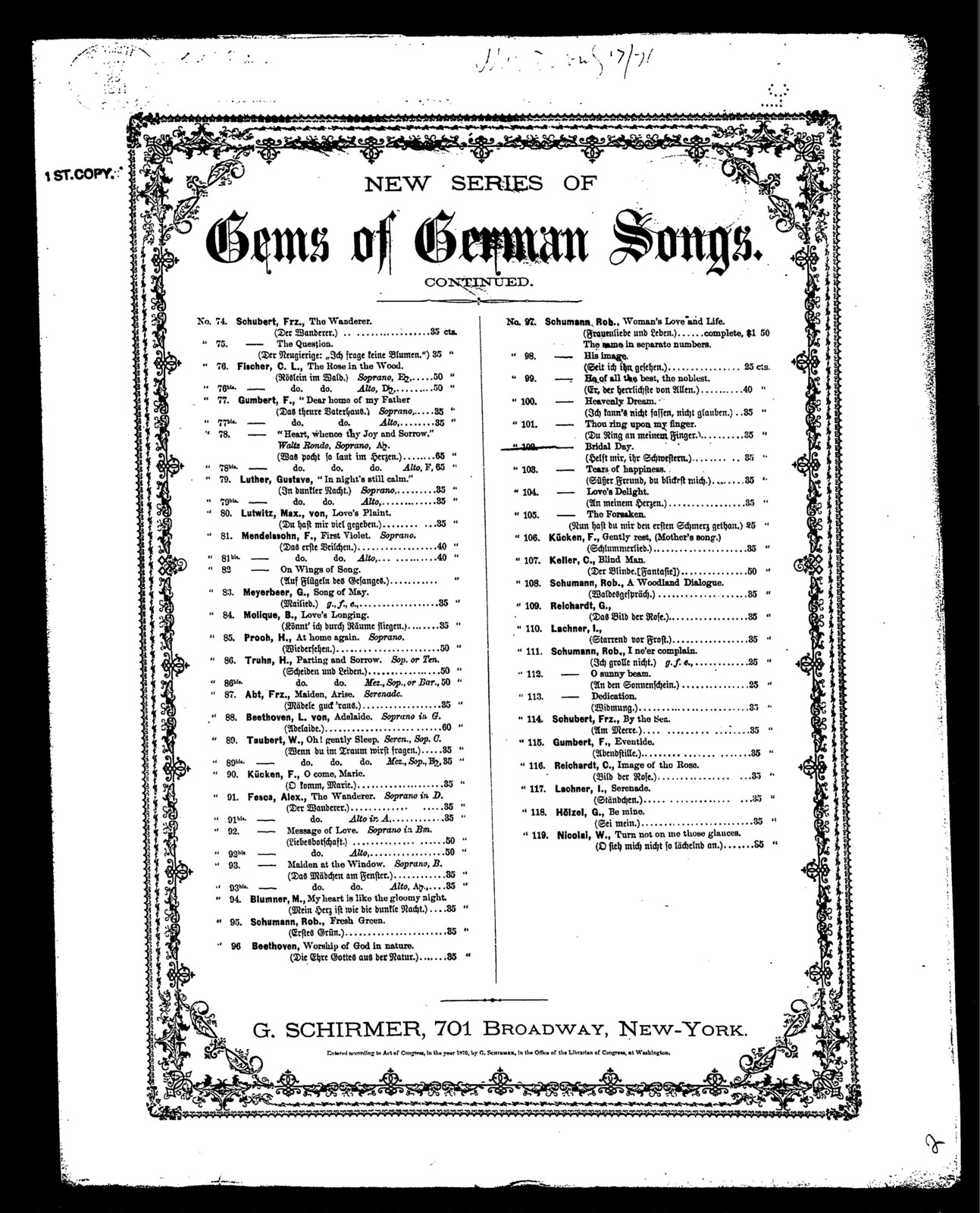 Bridal day [from] New series of gems of German songs