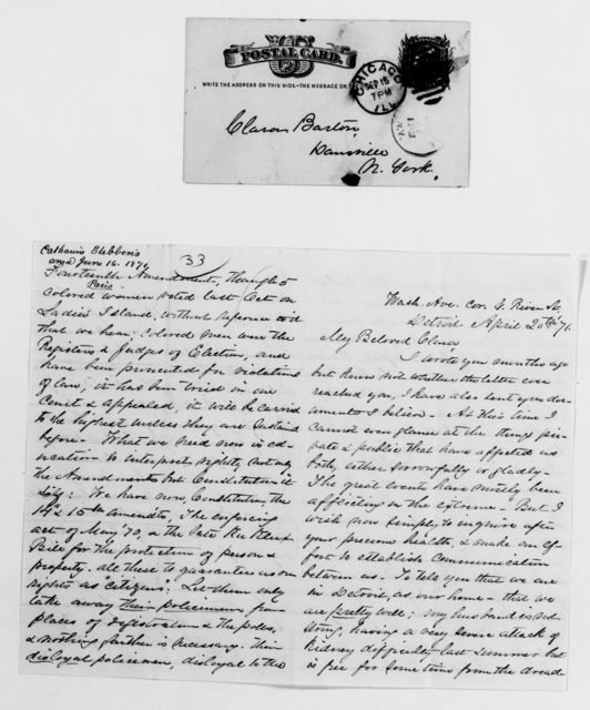 Clara Barton Papers: General Correspondence, 1838-1912; Stebbins, Catharine A. F., and family, 1871-1882
