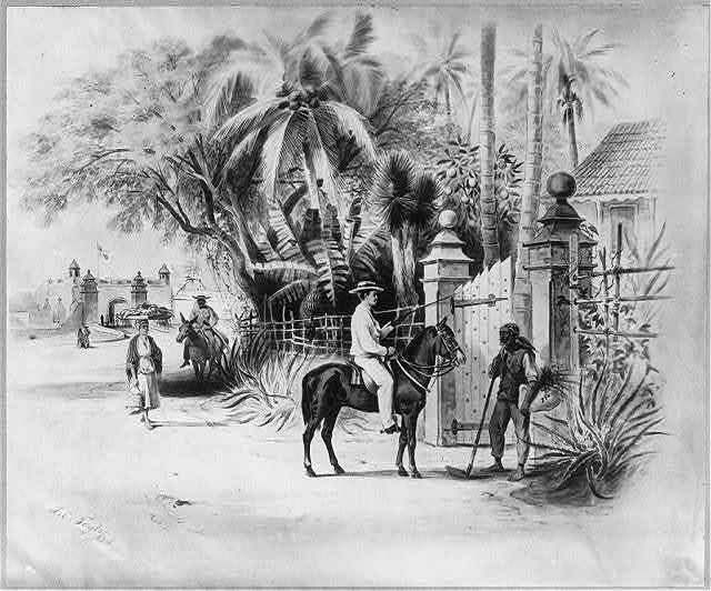 [Dominican Republic, 1871]: Entrance to Dameon Baez's residence, one half mile to the west of the limits of Santo Domingo City on the Haina Road