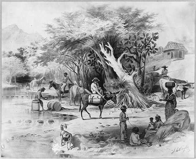 [Dominican Republic, 1871]: Procuring water in Via River at Azua, for that city's daily consumption