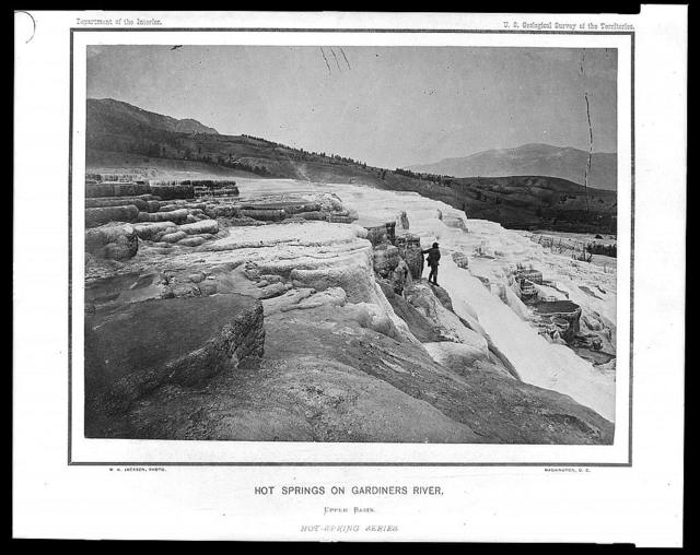 Hot springs on the Gardiners River, Upper Basin / W.H. Jackson photo.
