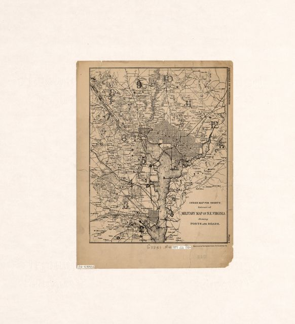 Index map for sheets, extract of military map of N.E. Virginia showing forts and roads : [Washington D.C. metropolitan area].