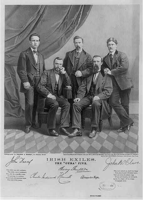 """Irish exiles - the """"Cuba"""" five / lithographed by Robison & Mooney, 112 Nassau Street."""