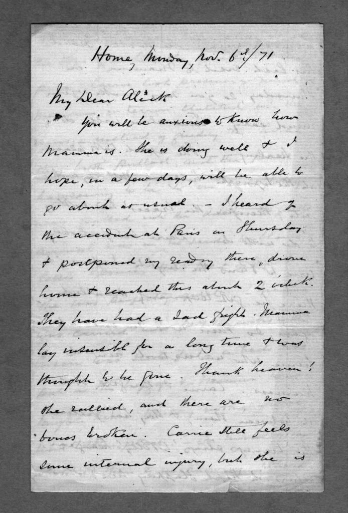 Letter from Alexander Melville Bell to Alexander Graham Bell, November 6, 1871