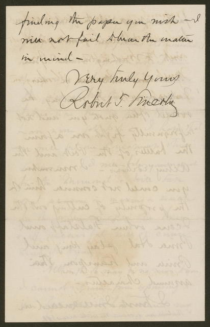 Letter from Robert Todd Lincoln to James H. Hackett, March 17, 1871.