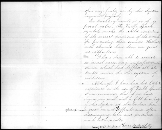 Letter from Sarah Fuller to Alexander Graham Bell, November 4, 1871