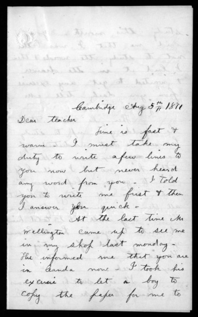 Letter from William H. Goldsmith to [Alexander Graham Bell], August 5, 1871
