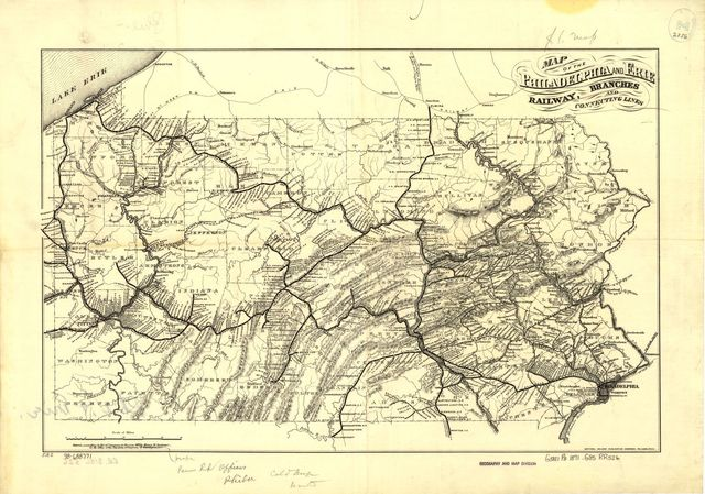 Map of the Philadelphia and Erie Railway, branches and connecting lines.