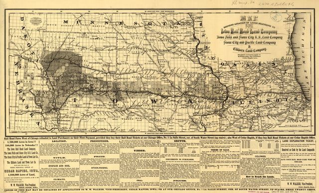 Map showing location of lands belonging to the Iowa Rail Road Land Company Iowa Falls, and Sioux City R.R. Land Company Sioux City, and Pacific Land Company & Elkhorn Land Company, J. T. McAlvin, Del. I.R.R. Land Department, Cedar Rapids, Iowa, 1871.