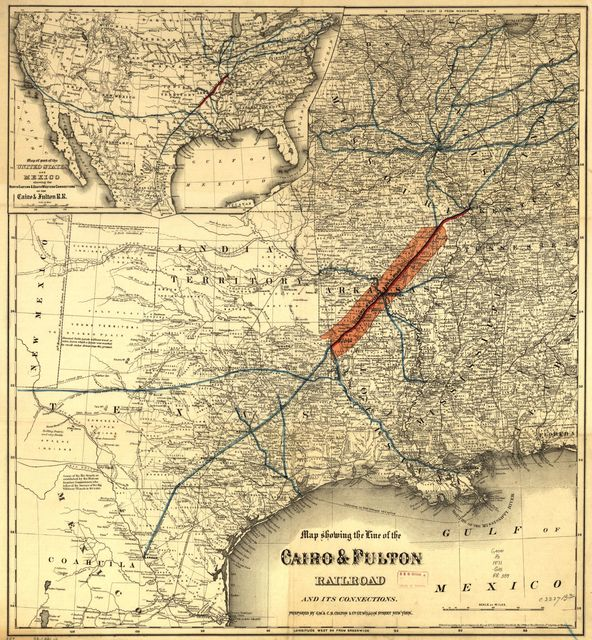 Map showing the line of the Cairo & Fulton Railroad and its connections.