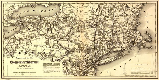 Map showing the line of the Connecticut & Western Railroad and its connections.