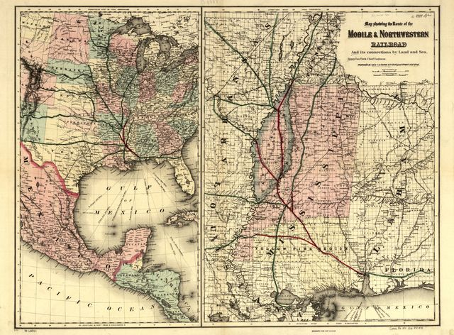 Map showing the route of the Mobile & North Western Railroad, and its connections by land and sea; Henry Van Vleck chief engineer.