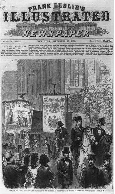 New York City - great eight-hour labor demonstration - the procession of workingmen as it appeared on passing the Cooper Institute