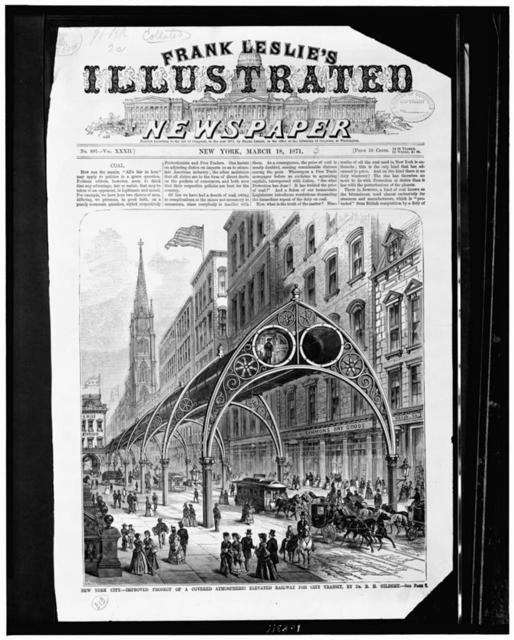 New York City - improved project of a covered atmospheric elevated railway for city transit, by Dr. R.H. Gilbert