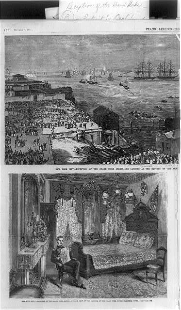 New York City - reception of the Grand Duke Alexis: 2 illustrations: 1. The landing [at Castle Garden]; 2. Interior view of the bedroom of the Grand Duke at the Clarendon Hotel [with the Grand Duke reading a newspaper]