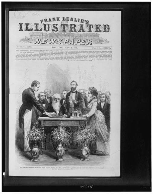 New York City--The Morse celebration at the Academy of Music, June 10th--Professor Morse manipulating his signature to the message telegraphed by Miss Sadie E. Cornwell