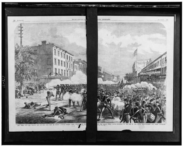New York City - The Orange Riot of July 12th - view on Eighth Avenue looking from Twenty-Fifth Street [...]ard the Grand Opera House - dispersal of the mob by the Ninth, Eighty-Fourth and other regiments