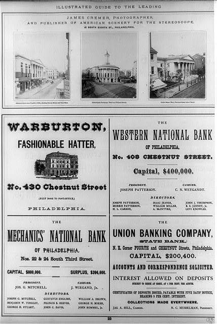 [Page of advertisements including three original photoprints of public buildings in Philadelphia: Custom House and Post Office, Philadelphia Exchange, and United States Mint]
