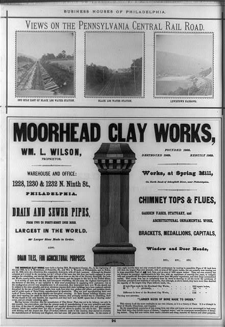 "[Page with three original photoprints ""Views on the Pennsylvania Central Railroad"" and advertisement for Moorhead Clay Works, Philadelphia]"
