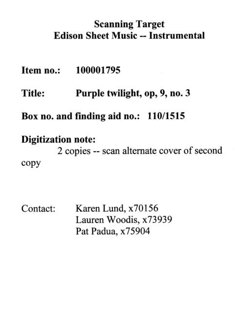 Purple twilight, op, 9, no. 3