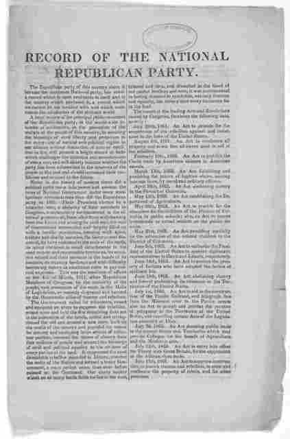 Record of the National Republican party ... [1871?].