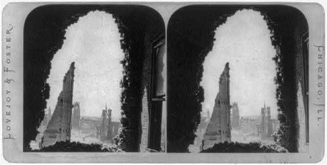 "[Ruins after the great fire of Oct. 1871, Chicago - looking south on Wabash Ave. through the ""Hole in the Wall""]"