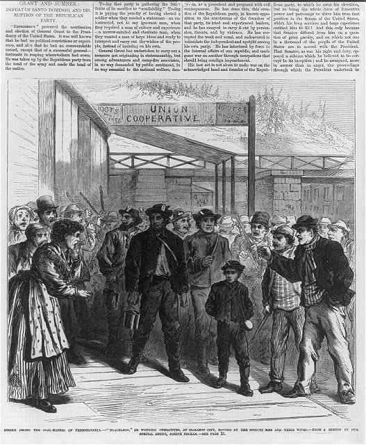 "Strike among the coal-miners of Pennsylvania - ""Blacklegs,"" or working operatives, at Mahony City, hooted by the society men and their wives"