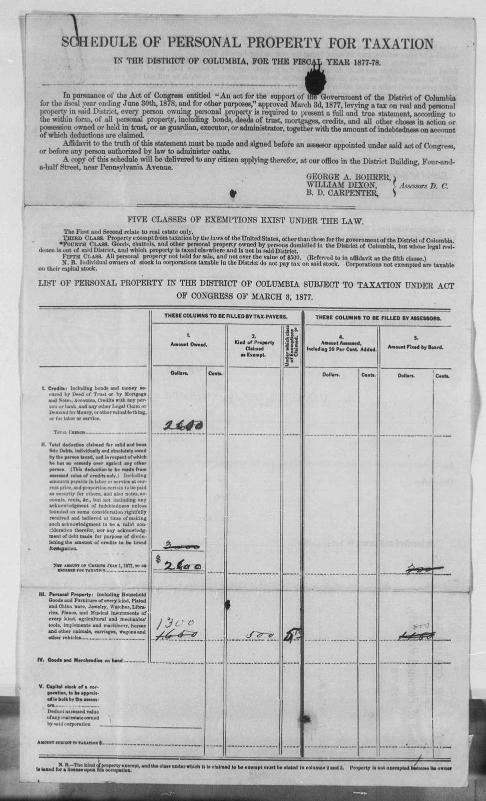 Tax Bills, 1871-1883