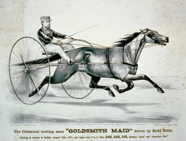 """The celebrated trotting mare """"Goldsmith Maid"""" driven by Budd Doble Trotting in harness at Buffalo, August 11th, 1871, mile heats best 3 in 5, time 2:19 3/4, 2:19 1/4, 2:19, beating """"Lucy"""" and """"American Girl."""""""