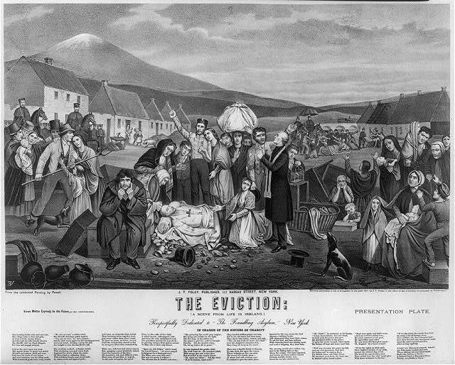 The eviction: a scene from life in Ireland / VE [monogram printed in reverse] ; from the celebrated painting by Powell.