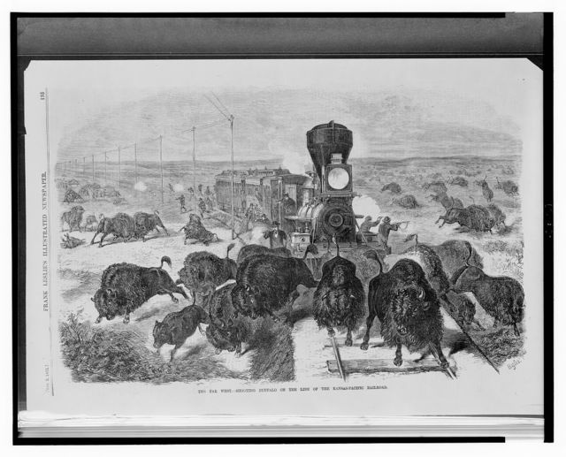 The far west - shooting buffalo on the line of the Kansas-Pacific Railroad / Bghs.