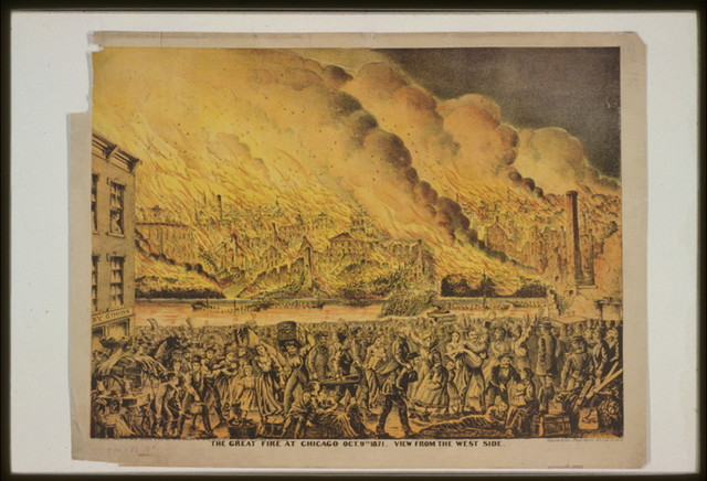 The Great fire at Chicago Oct. 9th 1871. View from the west side / Gibson & Co.'s Steam Press, Cin. O.