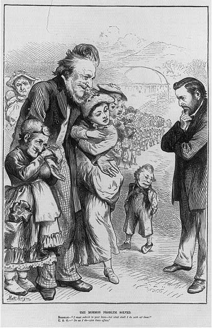 """The Mormon Problem Solved [Cartoon of Brigham Young telling Pres. Grant """"I must submit to your laws - but what shall I do with these"""" (hundreds of wives and children); Grant replies: """"Do as I do - give them offices""""]"""