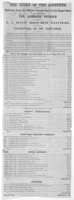 The story of the accounts. Extracts from the official figures sent to the supervisors. The armories swindle. A. J. Garvey again-- more plastering. Expenditures on the court-house. [New York. 1871.].
