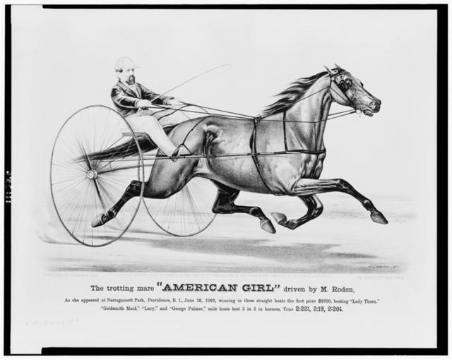 """The trotting mare """"American Girl"""" driven by M. Roden / J. Cameron."""