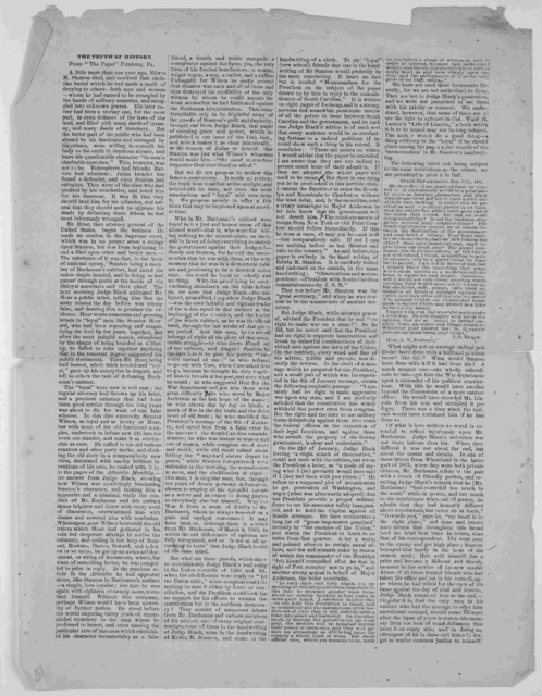 """The truth of history. From """"The Paper"""" Pittsburg, Pa. [1871]."""