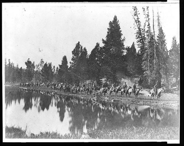 [U.S. Geological Survey pack train on trail along the Yellowstone River]