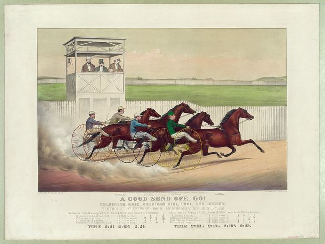 A good send off,-go!: Goldsmith Maid, American Girl, Lucy and Henry, trotting at Fleetwood Park, Morrisania, N.Y. July 9th 1872