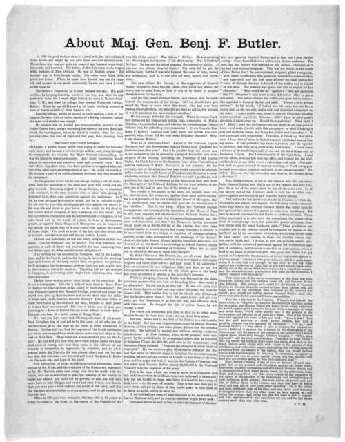 About Maj. Gen. Benj. F. Butler ... J. V. M. [1872?].